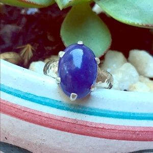 💜TANZANITE CABOCHON STERLING SILVER RING💜  NEW!